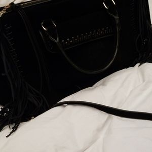 Handbags - Faux suede bag with fringe